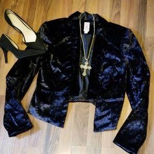 {Decree} Black Crushed Velvet Jacket